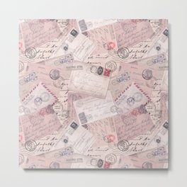 Nostalgic Letter and Postcard Collage Soft Pink Metal Print