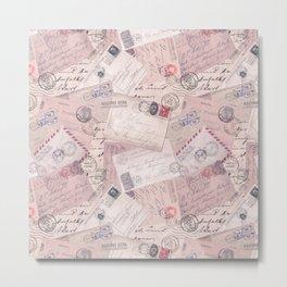 Nostalgic Letter and Postcard Collage Soft Pink Metal Print