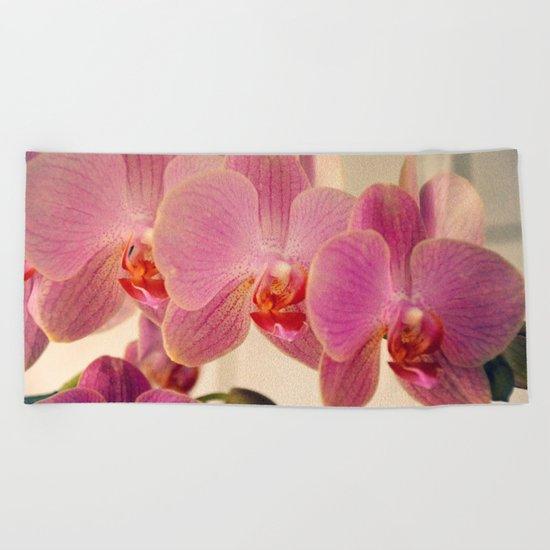 Triplet pink orchids  Beach Towel