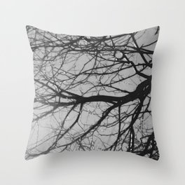 tree after the rain black and white Throw Pillow