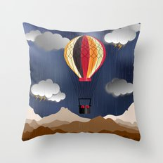 Balloon Aeronautics Rain Throw Pillow