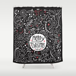 Merry Christmas doodles Shower Curtain