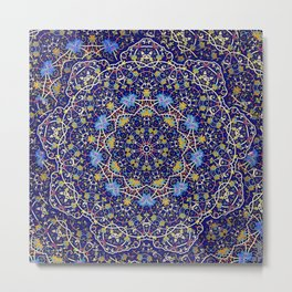 Nine sided ornament in blue with swirly things and such Metal Print