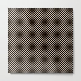 Black and Hazelnut Polka Dots Metal Print