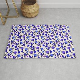 Rosebud Print - Cobalt Blue Rug