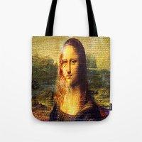da vinci Tote Bags featuring The Da Vinci Code by  Agostino Lo Coco
