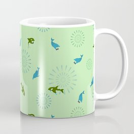 Green Orca and Dolphin Coffee Mug