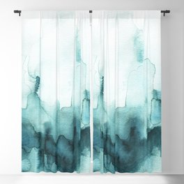 Soft teal abstract watercolor Blackout Curtain