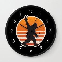 Retro Bigfoot Peace Sign Wall Clock