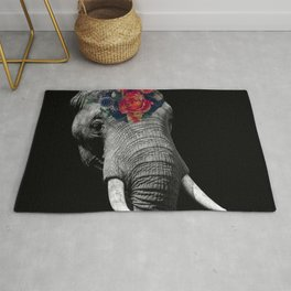 Elephant and bouquet Rug