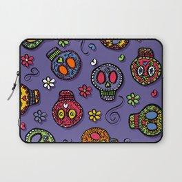 Sugar Skulls (on purple) - calavera, skull,  halloween, illustration Laptop Sleeve