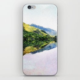 Buttermere Mirror Mountains, Lake District, UK. Watercolour landscape. iPhone Skin
