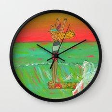 Hang 10 Lady Slider Surfer Girl Wall Clock