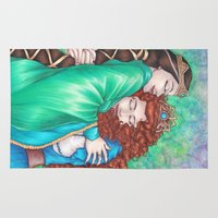 merida Area & Throw Rugs featuring Merida and Elinor (version 2) by Kimberly Castello