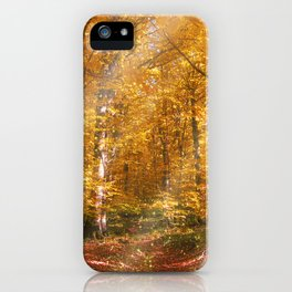 Autumn Forrest Gold Rays iPhone Case