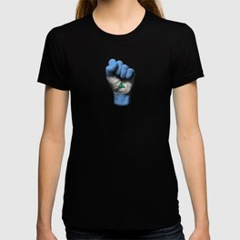 Nicaraguan Flag on a Raised Clenched Fist T-shirt