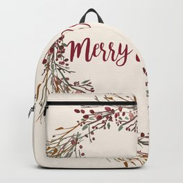Merry Christmas Wreath Backpack