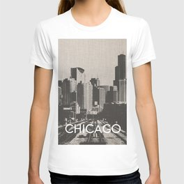 Chicago Illinois Skyline Black and White Canvas T-shirt