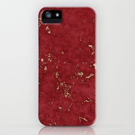 Royal Red Marble Gold Mine iPhone Case