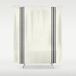 Vintage Country French Grainsack Grey Gray Stripes Cream Background Shower Curtain