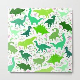 Dinosaur Pattern - Little Herbivores Metal Print