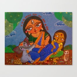 Parvati, with her children Ganesh and Lakshmi Canvas Print
