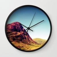 scotland Wall Clocks featuring Glencoe, Scotland. by zenitt