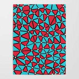 African Triangles Red and Blue Poster