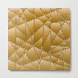 'Quilted' Geometric in Gold Yellow Metal Print