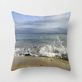 White Water Waves Crashing on Winter Beach Throw Pillow