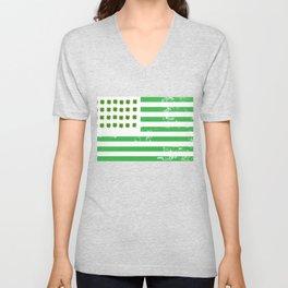 USA American Flag St. Patrick's Day Irish Unisex V-Neck