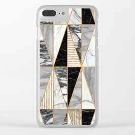 Marble Triangles - Black and White Clear iPhone Case