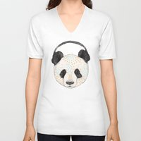 panda V-neck T-shirts featuring Polkadot Panda by Sandra Dieckmann