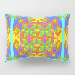 BOHEMIAN STYLE QUILTED TURQUOISE BUTTERFLIES & FLOWERS Pillow Sham