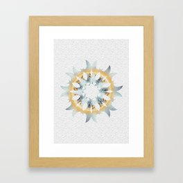 Yellow and blue fire sun shaped graphic on white embossed background. Framed Art Print