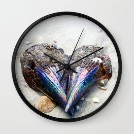 Heart Shell on Sand Wall Clock