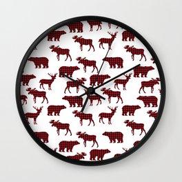 Plaid camping animals minimal bear moose deer nursery decor gender neutral woodland Wall Clock