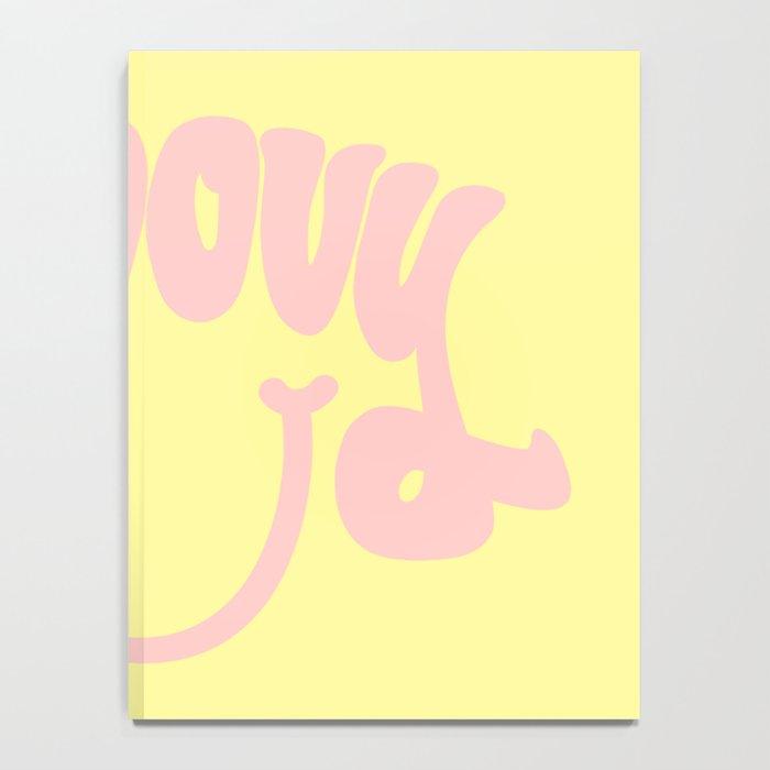 Groovy Smile // Fun Retro 70s Hippie Vibes Lemonade Yellow Grapefruit Pink Lettering Typography Art Notebook