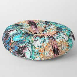 Colorful Abstract In Shreds Floor Pillow