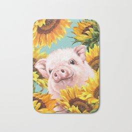 Baby Pig with Sunflowers in Blue Bath Mat