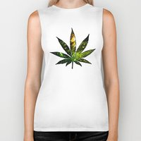 marijuana Biker Tanks featuring Marijuana Leaf - Design 3 by Spooky Dooky
