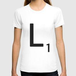 Letter L - Custom Scrabble Letter Tile Art - Scrabble L Initial T-shirt