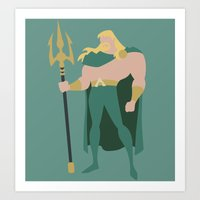 aquaman Art Prints featuring Aquaman by karla estrada