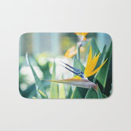 Bird of Paradise Photography, Green Orange Aqua Blue, Tropical Flower Nature Botanical Bath Mat