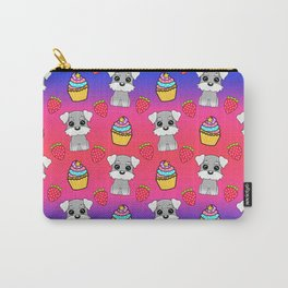 Cute happy funny baby Schnauzer puppy, sweet adorable yummy colorful Kawaii cupcakes and red summer strawberries cartoon bright raspberry pink blue pattern design Carry-All Pouch