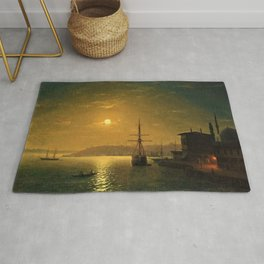 Constantinople (Istanbul) by Moonlight by Ivan Aivazovsky Rug