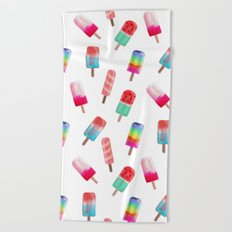 Watercolored Popsicles Beach Towel