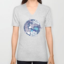 Blue Koi Ripples Unisex V-Neck