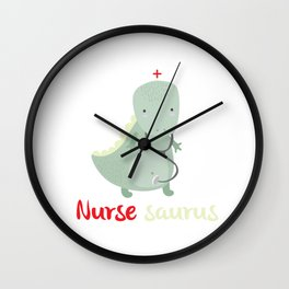Nurse Saurus Comic Dinosaur For a Certified Nursing Assistan graphic Wall Clock