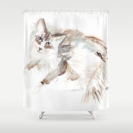 New York's Hottest Cat Shower Curtain